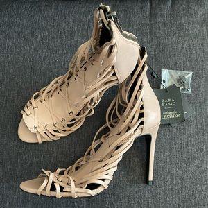 NWT Zara Leather Blush Heels